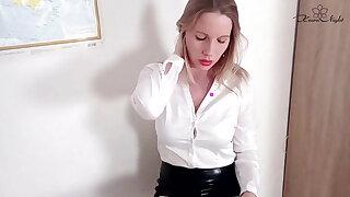 Horny Teacher in Pantyhose Masturbates Pussy Sensually and Cums