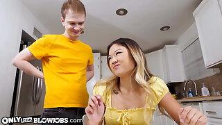 Cute Asian Teen Lulu Chu Swallows Stepbrother's Cock