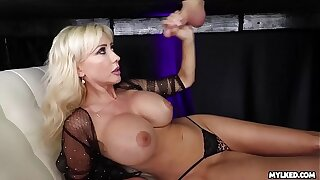 Jizz On Her Boobs - Obese Boob Milf Milked His Cock