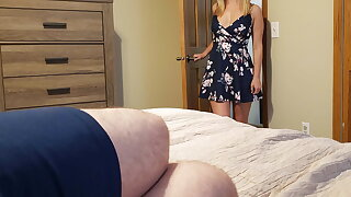 Sister wakes step kinsman with a blowjob and gets a creampie