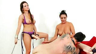 CFNM dommes paddle added to strapon fuck