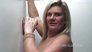 Horny swinger wives sucking and fucking hard gloryhole cock